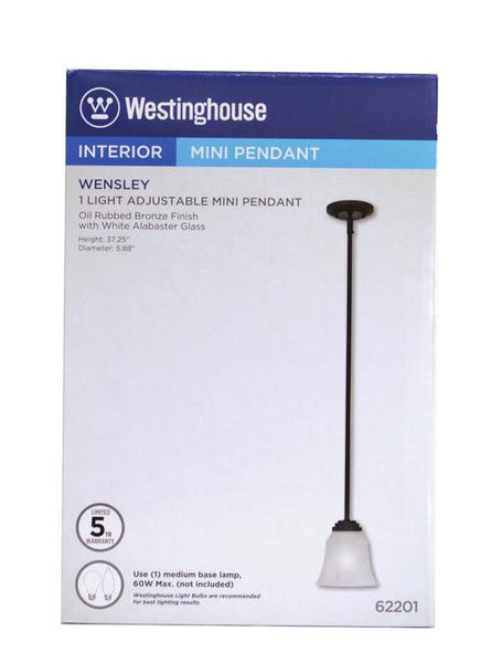 Wensley One-Light Indoor Mini Pendant, Oil Rubbed Bronze Finish with White Alabaster Glass - Lighting Getz