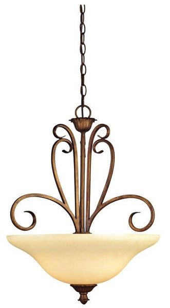 Regal Springs Three-Light Indoor Pendant, Ebony Gold Finish with Burnt Scavo Glass - Lighting Getz
