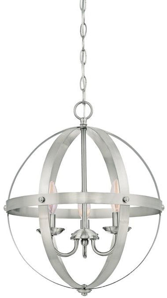 Stella Mira Three-Light Pendant, Brushed Nickel Finish - Lighting Getz