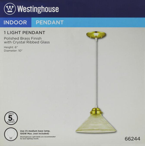 One-Light Indoor Pendant, Polished Brass Finish with Crystal Ribbed Glass - Lighting Getz