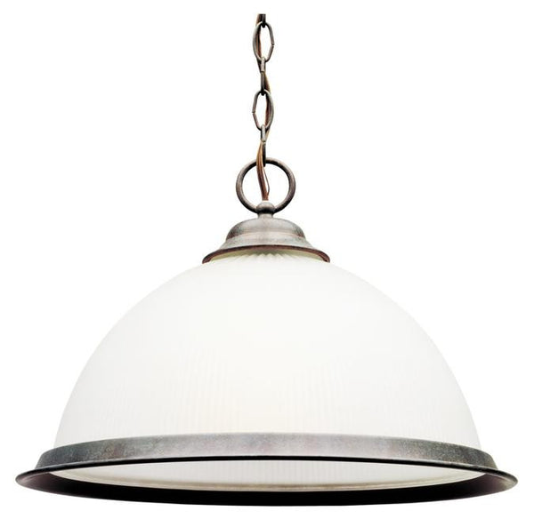 One-Light Indoor Pendant, Sienna Finish with Frosted Ribbed Glass - Lighting Getz