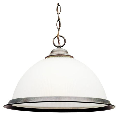 One-Light Indoor Pendant, Sienna Finish with Frosted Ribbed Glass