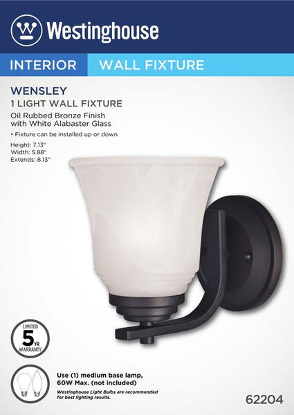 Wensley One-Light Indoor Wall Fixture, Oil Rubbed Bronze Finish with White Alabaster Glass - Lighting Getz