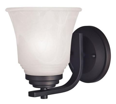 Wensley One-Light Indoor Wall Fixture, Oil Rubbed Bronze Finish with White Alabaster Glass