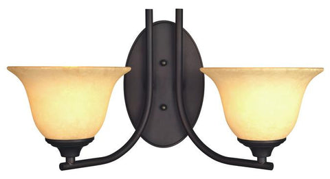 Kings Canyon Two-Light Indoor Wall Fixture, Oil Rubbed Bronze Finish with Burnt Scavo Glass