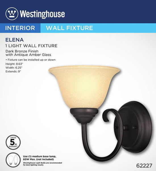 Elena One-Light Indoor Wall Fixture, Dark Bronze Finish with Antique Amber Glass - Lighting Getz