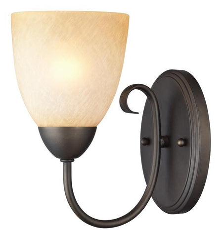 Chapel Hill One-Light Indoor Wall Fixture, Oil Rubbed Bronze Finish with Antique Amber Scavo Glass