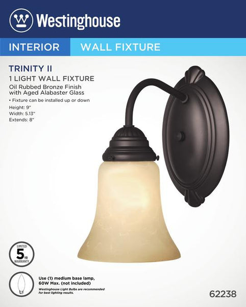 Trinity II One-Light Indoor Wall Fixture, Oil Rubbed Bronze Finish with Aged Alabaster Glass - Lighting Getz