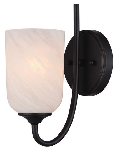 Treebridge Station One-Light Indoor Wall Fixture, Espresso Finish with White Alabaster Glass