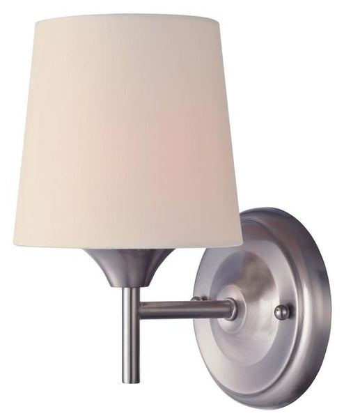 Parker Mews One-Light Indoor Wall Fixture, Brushed Nickel Finish with White Linen Fabric Shade - Lighting Getz