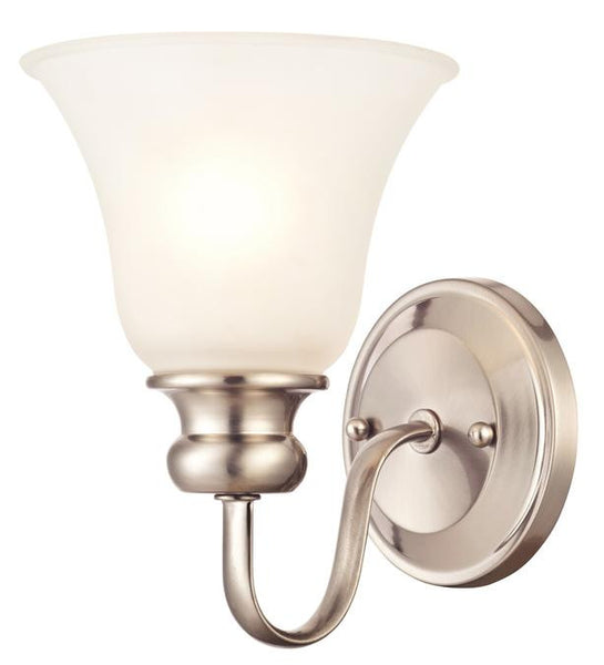 Fontane One-Light Indoor Wall Fixture, Brushed Nickel Finish with Frosted Glass - Lighting Getz