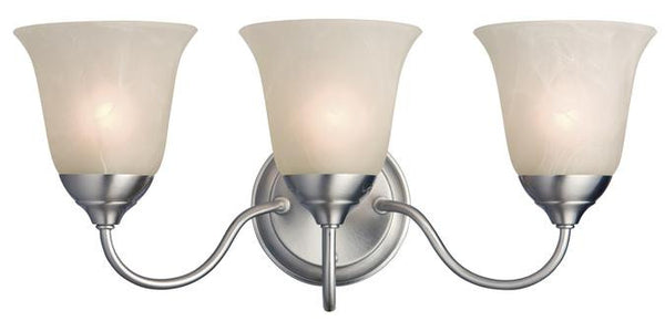 Clinton Three-Light Indoor Wall Fixture, Satin Nickel Finish with White Alabaster Glass - Lighting Getz