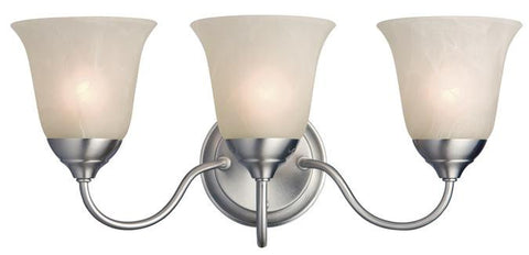 Clinton Three-Light Indoor Wall Fixture, Satin Nickel Finish with White Alabaster Glass