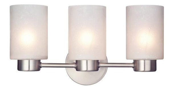 Sylvestre Three-Light Indoor Wall Fixture, Brushed Nickel Finish with Frosted Seeded Glass - Lighting Getz