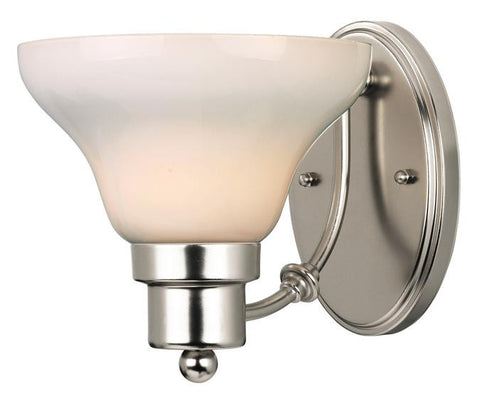 Swanstone One-Light Indoor Wall Fixture, Satin Nickel Finish with White Opal Glass