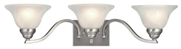 Fallon Three-Light Indoor Wall Fixture, Satin Platinum Finish with White Alabaster Glass - Lighting Getz