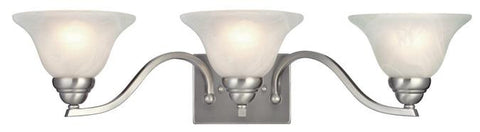 Fallon Three-Light Indoor Wall Fixture, Satin Platinum Finish with White Alabaster Glass