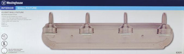Four-Light Indoor Wall Fixture, Brushed Nickel Finish - Lighting Getz