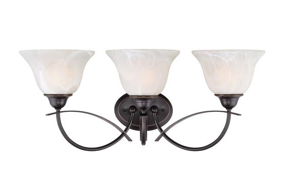Pacific Falls Three-Light Indoor Wall Fixture, Amber Bronze Finish with White Alabaster Glass - Lighting Getz