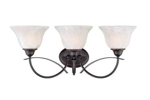 Pacific Falls Three-Light Indoor Wall Fixture, Amber Bronze Finish with White Alabaster Glass