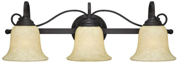 Callan Three-Light Indoor Wall Fixture, Oil Rubbed Bronze Finish with Caramel Scavo Glass - Lighting Getz