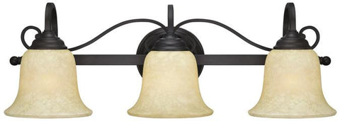 Callan Three-Light Indoor Wall Fixture, Oil Rubbed Bronze Finish with Caramel Scavo Glass