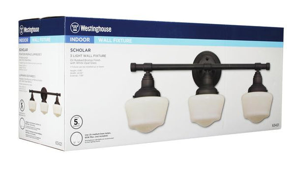Scholar Three-Light Indoor Wall Fixture, Oil Rubbed Bronze Finish with White Opal Glass - Lighting Getz