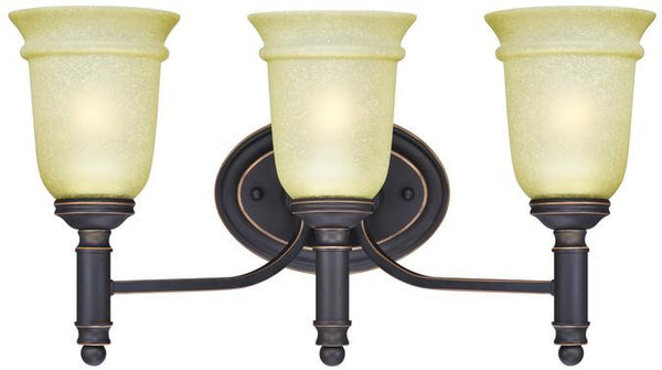 Montrose Three-Light Indoor Wall Fixture, Oil Rubbed Bronze Finish with Highlights and Mocha Scavo Glass - Lighting Getz