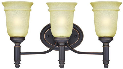 Montrose Three-Light Indoor Wall Fixture, Oil Rubbed Bronze Finish with Highlights and Mocha Scavo Glass
