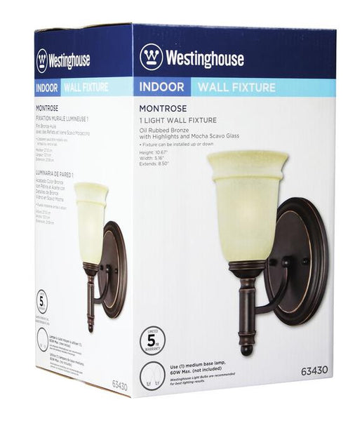 Montrose One-Light Indoor Wall Fixture, Oil Rubbed Bronze Finish with Highlights and Mocha Scavo Glass - Lighting Getz