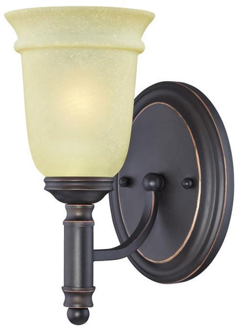 Montrose One-Light Indoor Wall Fixture, Oil Rubbed Bronze Finish with Highlights and Mocha Scavo Glass