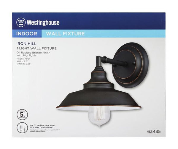 Iron Hill One-Light Indoor Wall Fixture, Oil Rubbed Bronze Finish with Highlights and Metal Shade - Lighting Getz