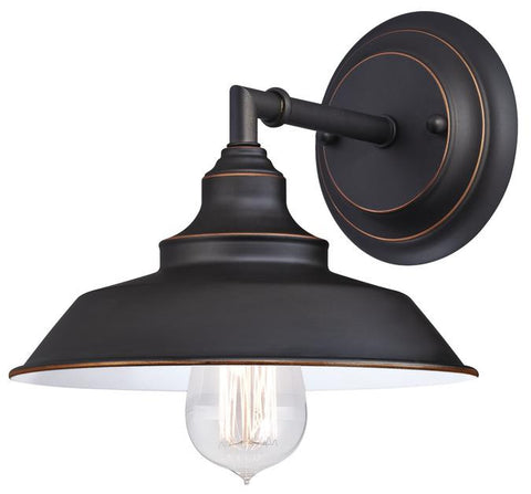 Iron Hill One-Light Indoor Wall Fixture, Oil Rubbed Bronze Finish with Highlights and Metal Shade