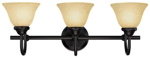 Elena Three-Light Indoor Wall Fixture, Dark Bronze Finish with Antique Amber Glass