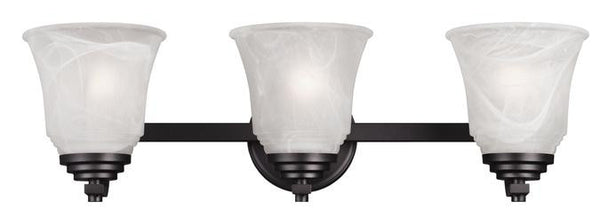 Wensley Three-Light Indoor Wall Fixture, Oil Rubbed Bronze Finish with White Alabaster Glass - Lighting Getz