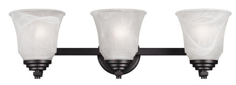 Wensley Three-Light Indoor Wall Fixture, Oil Rubbed Bronze Finish with White Alabaster Glass
