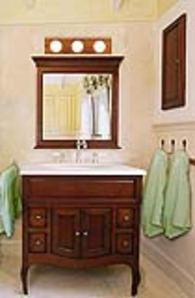 Three-Light Indoor Bath Bar, Solid Oak with Polished Brass Finish Accented Socket Covers - Lighting Getz