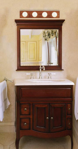 Four-Light Indoor Bath Bar, Solid Oak with Polished Brass Finish Accented Socket Covers - Lighting Getz