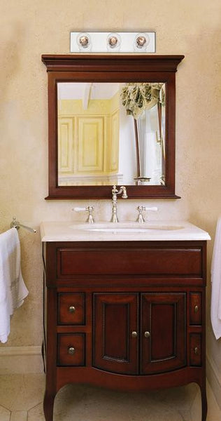 Three-Light Indoor Bath Bar, Beveled Mirror Finish - Lighting Getz