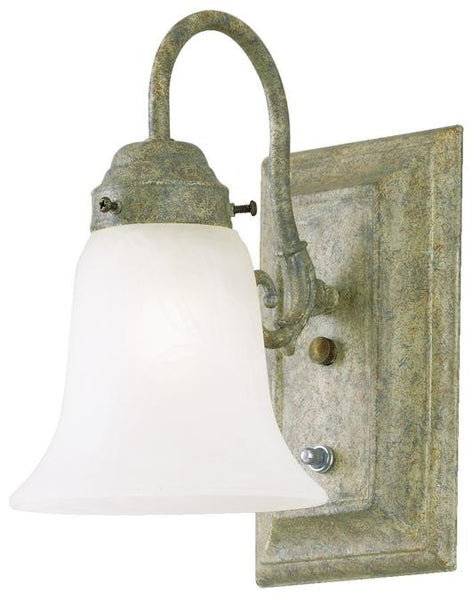 One-Light Indoor Wall Fixture, with On-Off Switch Cobblestone Finish with Frosted White Alabaster Glass - Lighting Getz