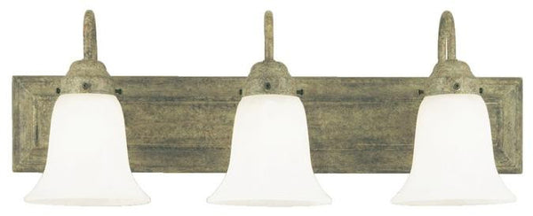 Three-Light Indoor Wall Fixture, Cobblestone Finish with Frosted White Alabaster Glass - Lighting Getz