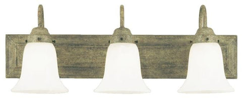 Three-Light Indoor Wall Fixture, Cobblestone Finish with Frosted White Alabaster Glass