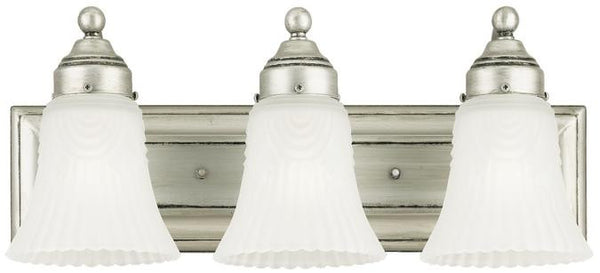 Three-Light Indoor Wall Fixture, Antique Pewter Finish with Frosted Pleated Glass - Lighting Getz