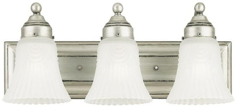 Three-Light Indoor Wall Fixture, Antique Pewter Finish with Frosted Pleated Glass