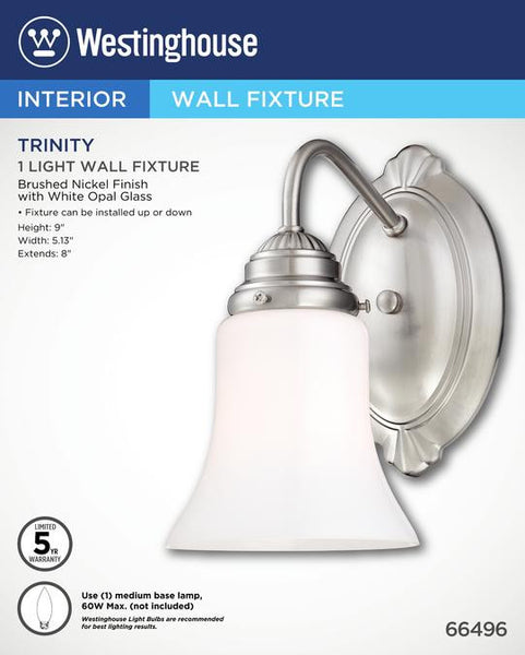One-Light Indoor Wall Fixture, Brushed Nickel Finish with White Opal Glass - Lighting Getz