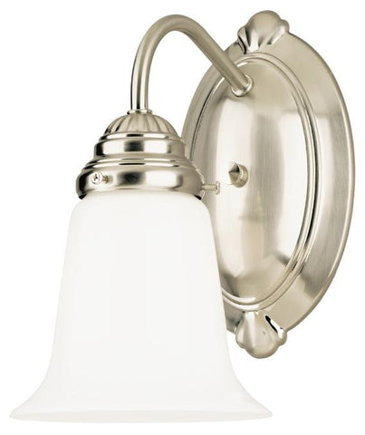 One-Light Indoor Wall Fixture, Brushed Nickel Finish with White Opal Glass