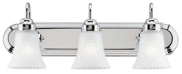 Three-Light Indoor Wall Fixture, Chrome Finish with Frosted Pleated Glass - Lighting Getz