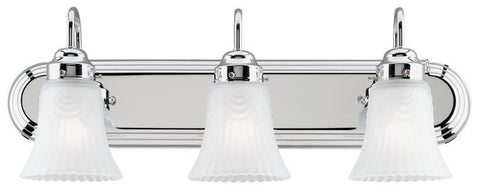 Three-Light Indoor Wall Fixture, Chrome Finish with Frosted Pleated Glass