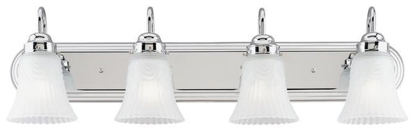 Four-Light Indoor Wall Fixture, Chrome Finish with Frosted Pleated Glass - Lighting Getz