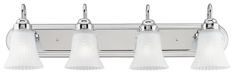Four-Light Indoor Wall Fixture, Chrome Finish with Frosted Pleated Glass